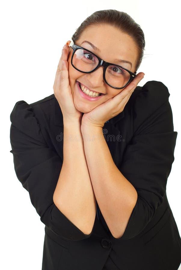 Mujer de negocios divertidos con las lentes imagenes de archivo