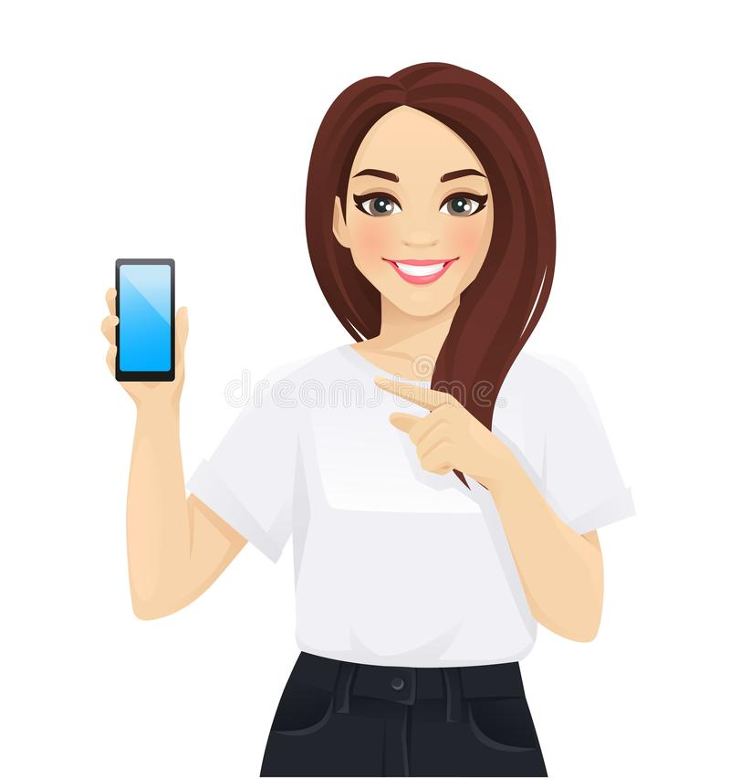 Mujer de negocios elegante mostrando un teléfono de pantalla stock de ilustración