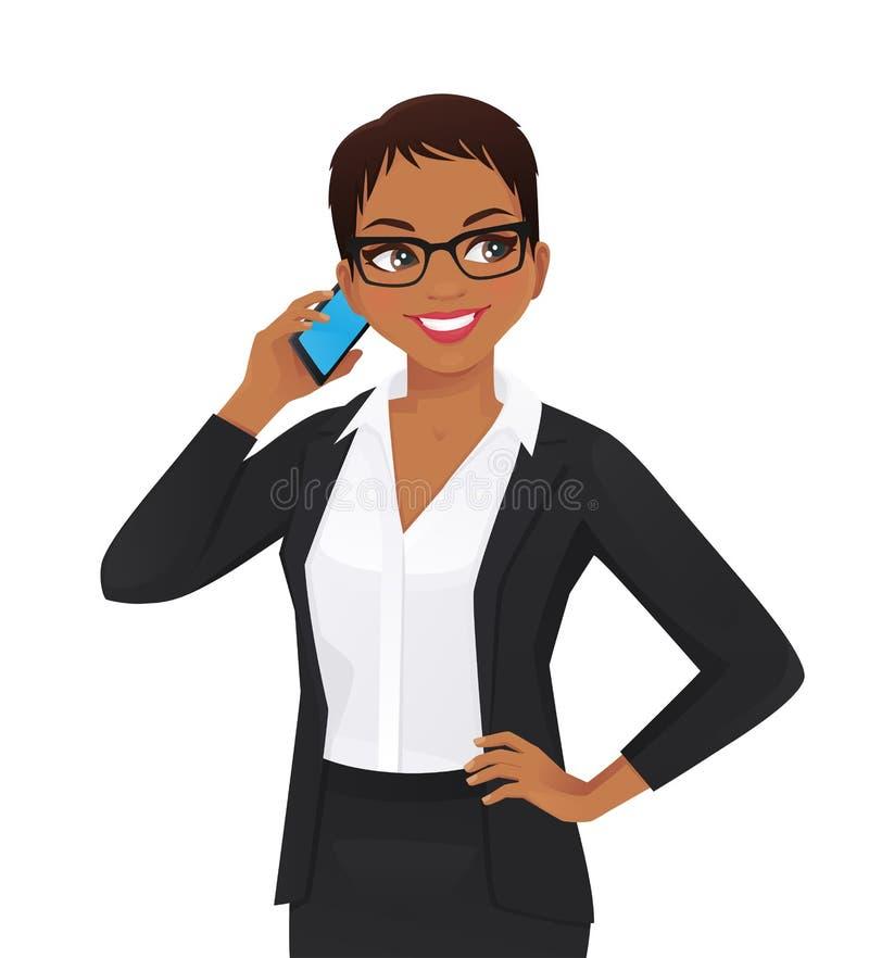 Mujer de negocios elegante que habla en el tel?fono m?vil stock de ilustración