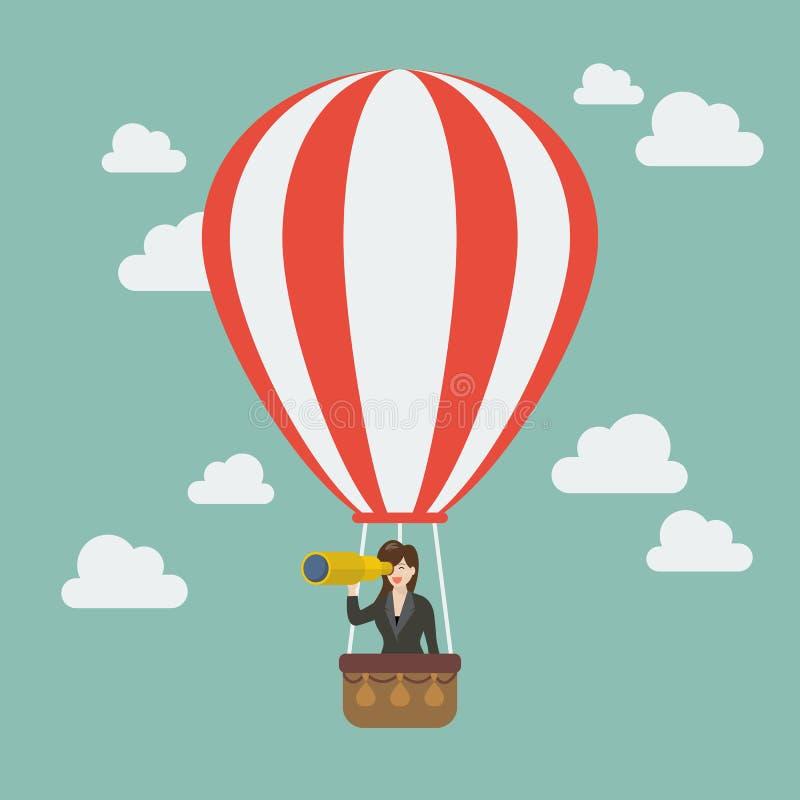 Mujer de negocios en búsqueda del globo del aire caliente al éxito stock de ilustración