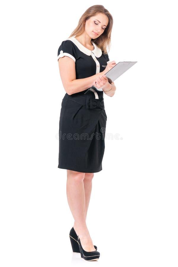Mujer de negocios en blanco foto de archivo
