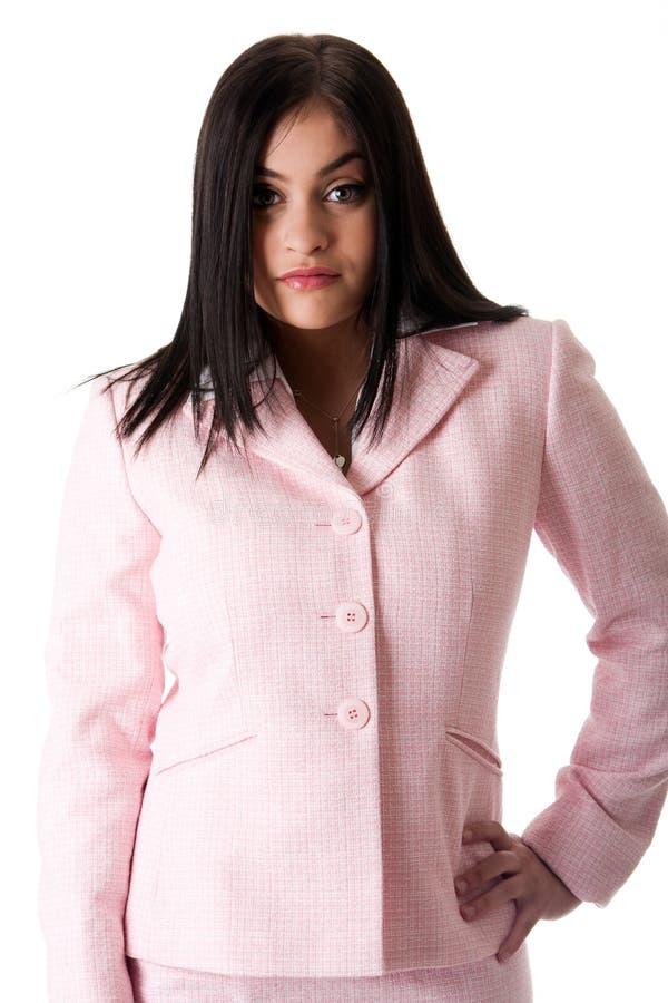 Mujer de negocios en color de rosa fotos de archivo libres de regalías