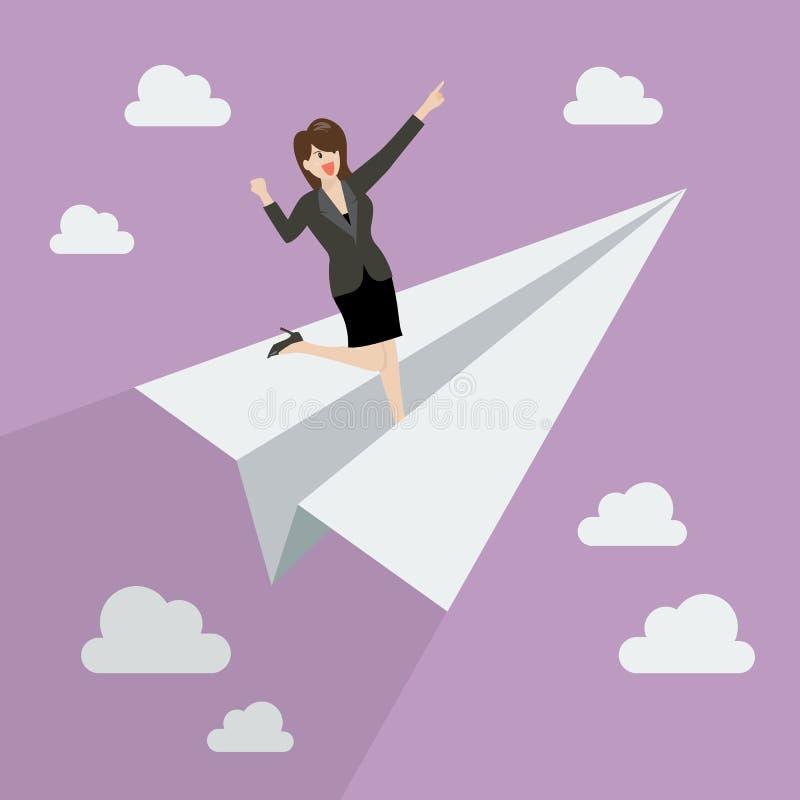 Mujer de negocios en el cohete de papel libre illustration