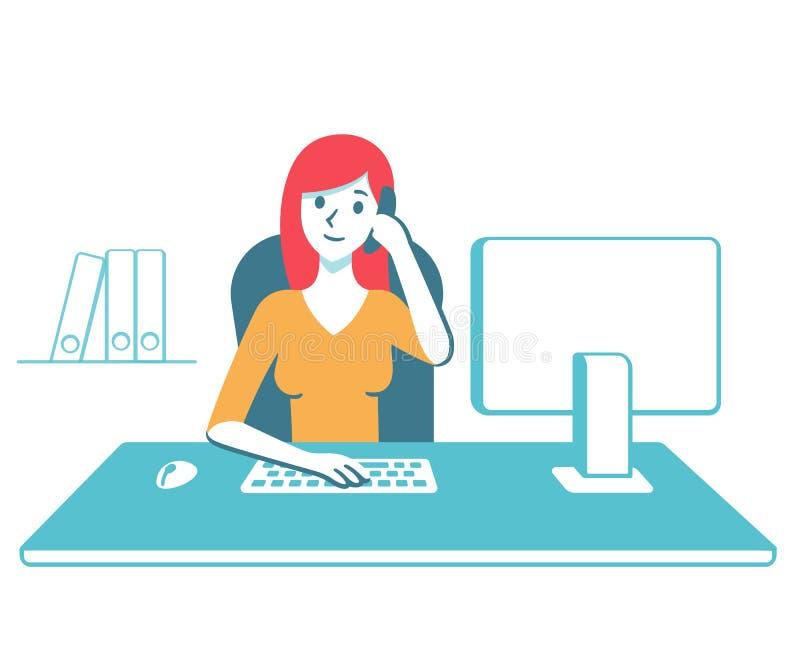 Mujer de negocios en el escritorio de oficina stock de ilustración