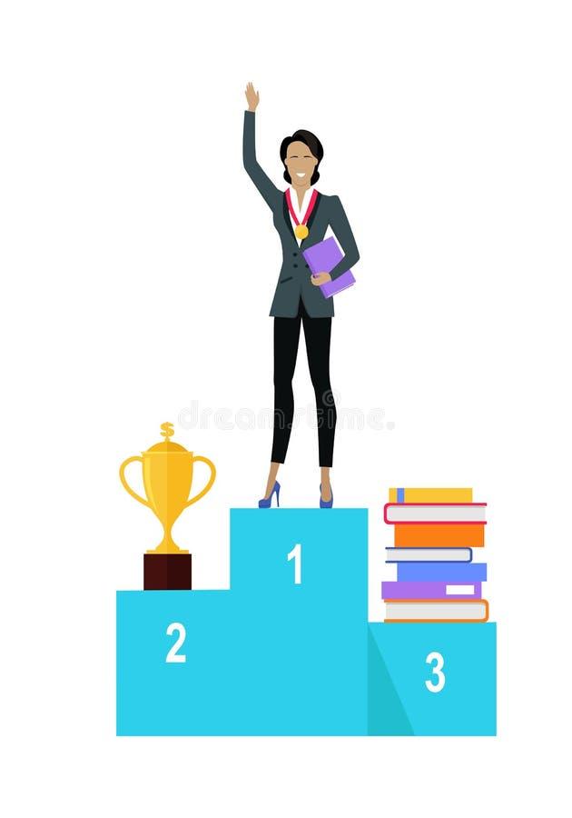 Mujer de negocios en el pedestal de ganadores libre illustration
