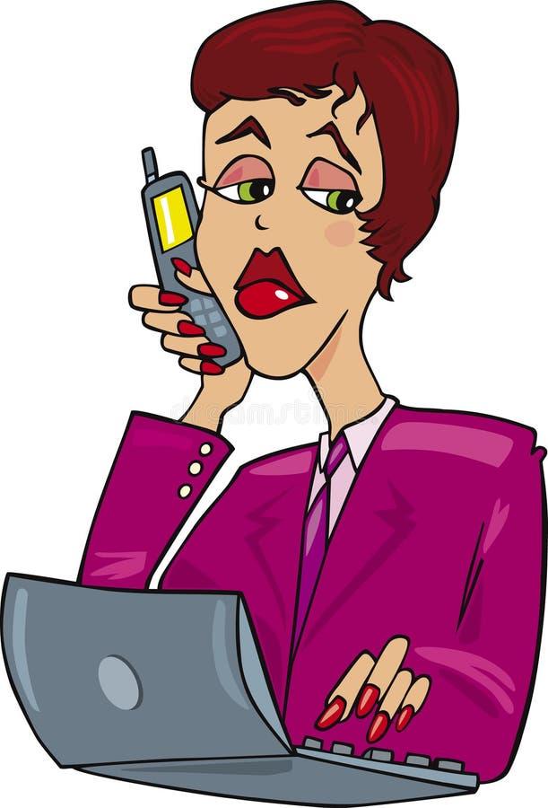 Download Mujer De Negocios En El Trabajo Ilustración del Vector - Ilustración de historieta, célula: 7286402