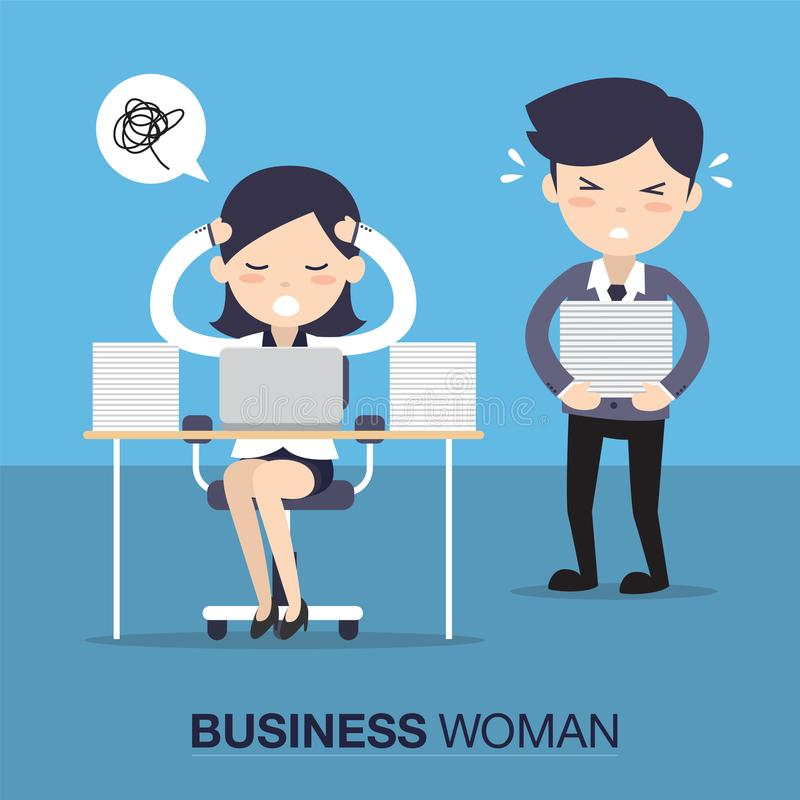 Mujer de negocios en el trabajo duro libre illustration