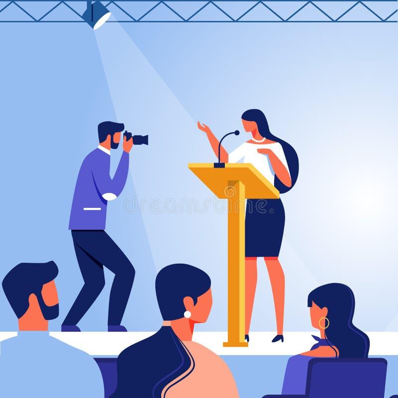 Mujer de negocios en etapa en audiencia delantera Vector ilustración del vector