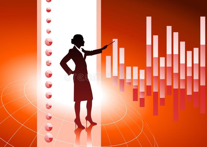 Mujer de negocios en fondo con las cartas financieras stock de ilustración