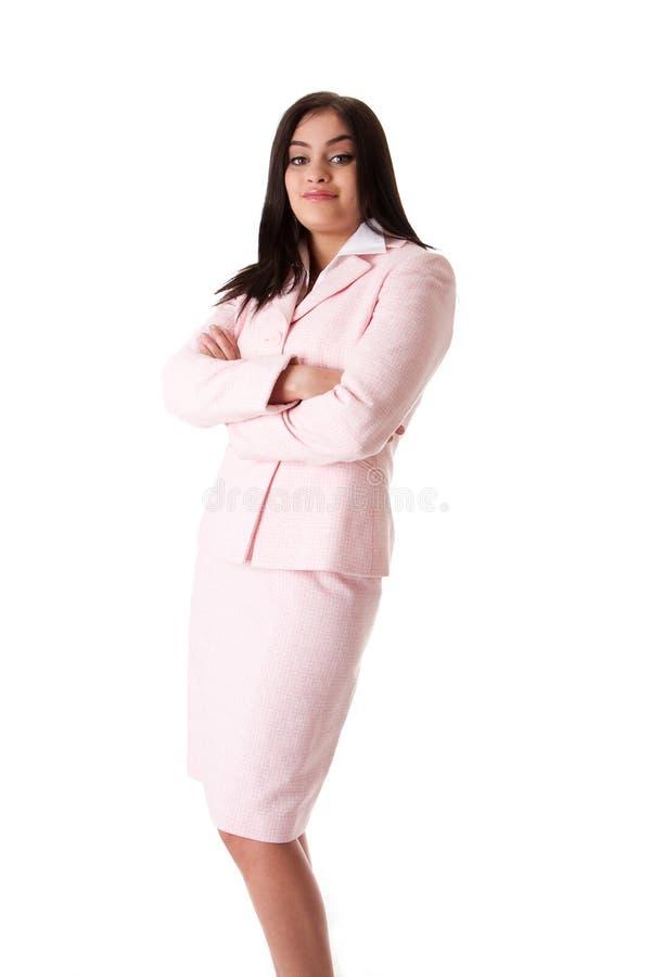 Mujer de negocios en juego rosado imágenes de archivo libres de regalías