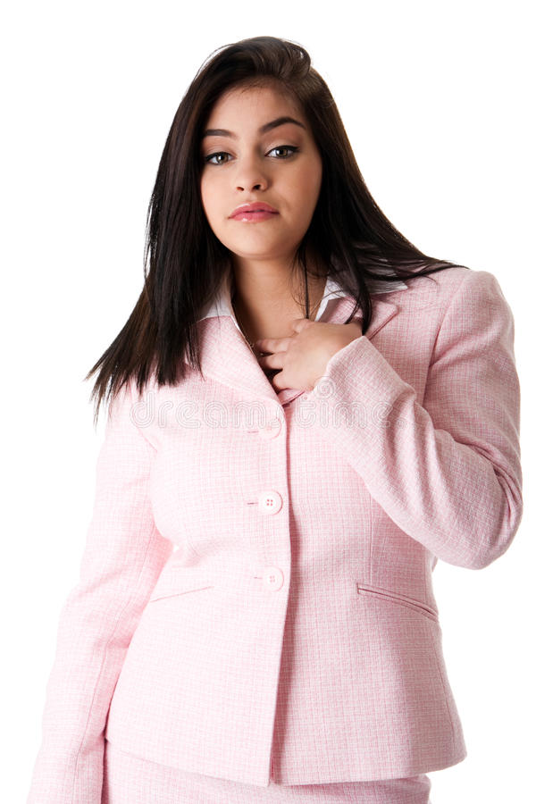 Mujer de negocios en juego rosado fotografía de archivo libre de regalías