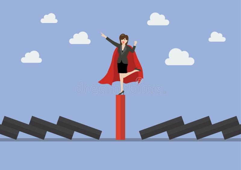 Mujer de negocios en la teja roja única del dominó entre los dom negros que caen stock de ilustración