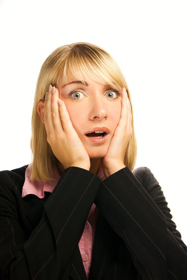 Mujer de negocios en pánico foto de archivo