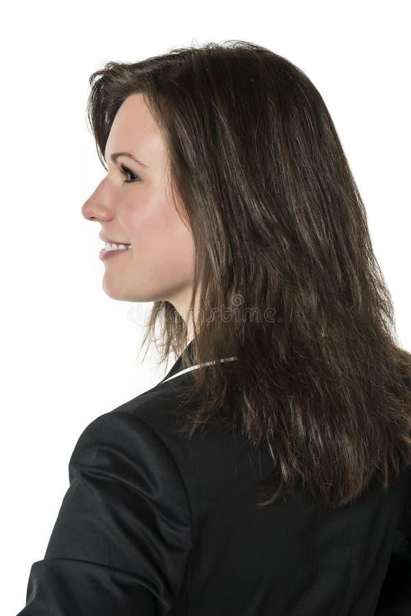 Mujer de negocios en traje oscuro fotografía de archivo libre de regalías