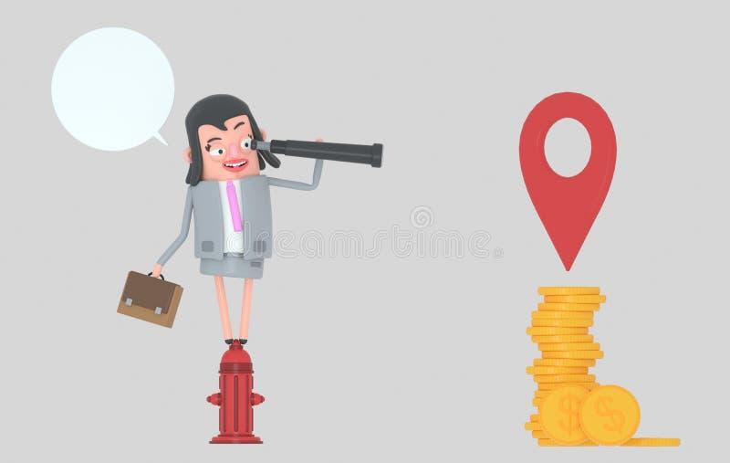 Mujer de negocios en una boca de incendios que mira adelante en un catalejo mujer del illustrationBusiness 3d en un dinero de obs libre illustration