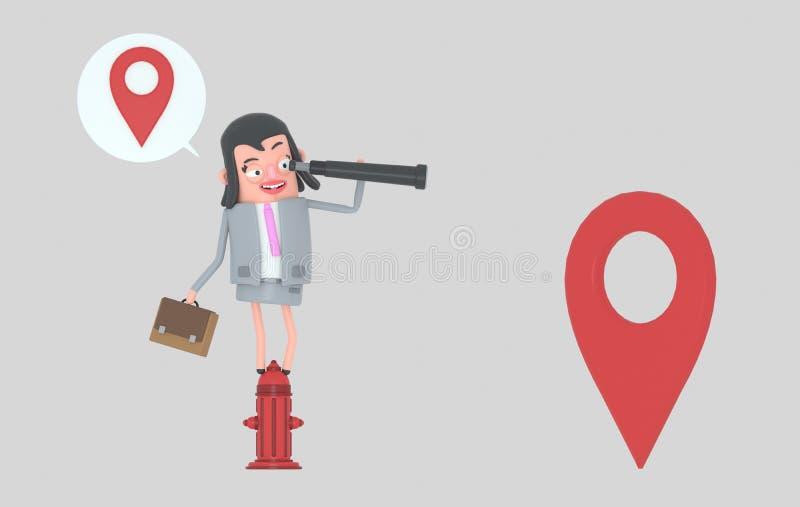Mujer de negocios en una boca de incendios que mira adelante en un catalejo ilustración 3D stock de ilustración
