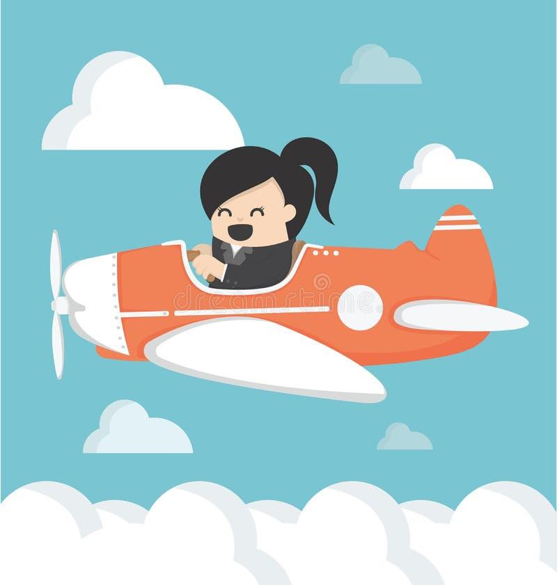 Mujer de negocios en vector del aeroplano stock de ilustración