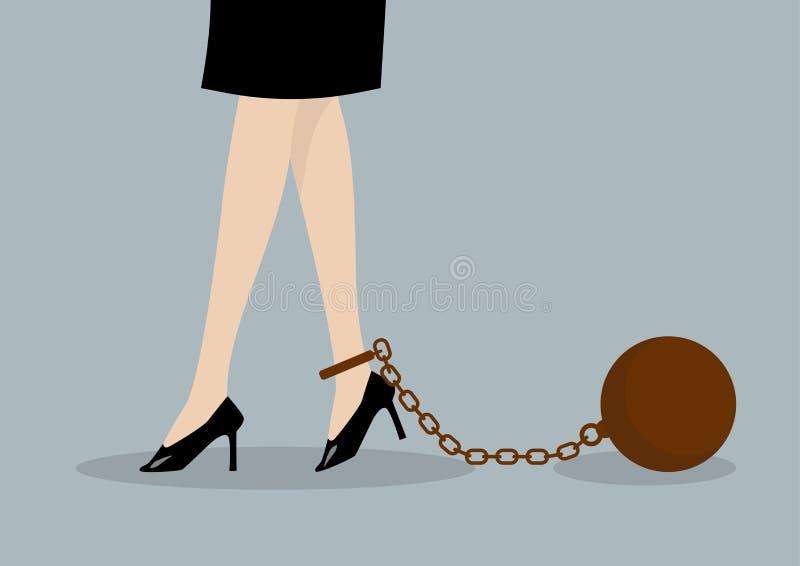 Mujer de negocios encadenada stock de ilustración