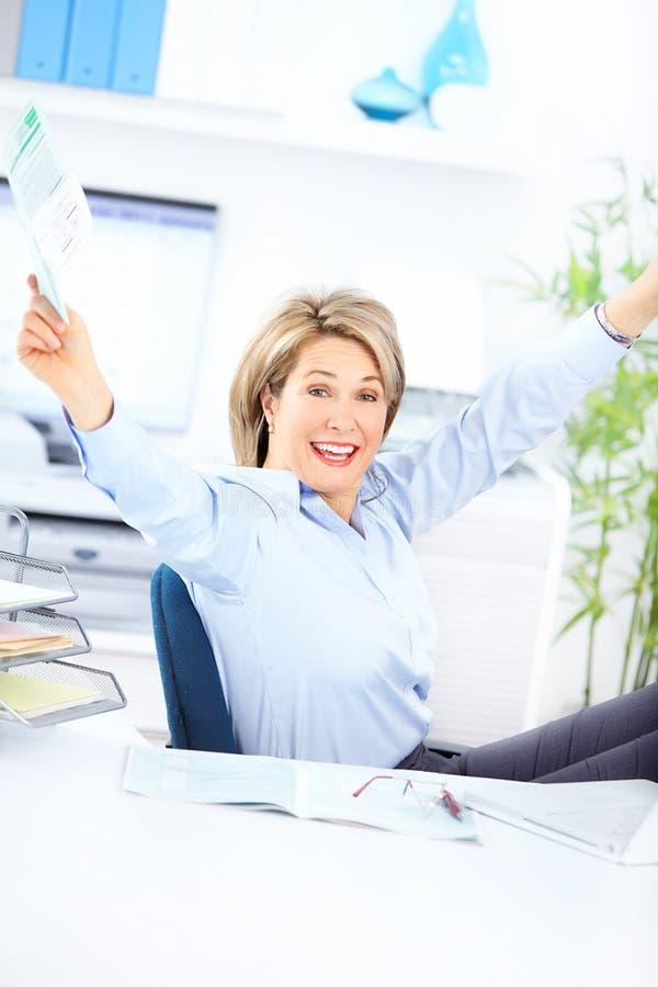 Mujer de negocios feliz fotografía de archivo
