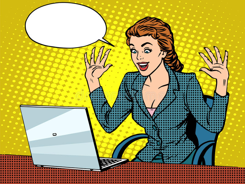 Mujer de negocios feliz con la computadora portátil libre illustration