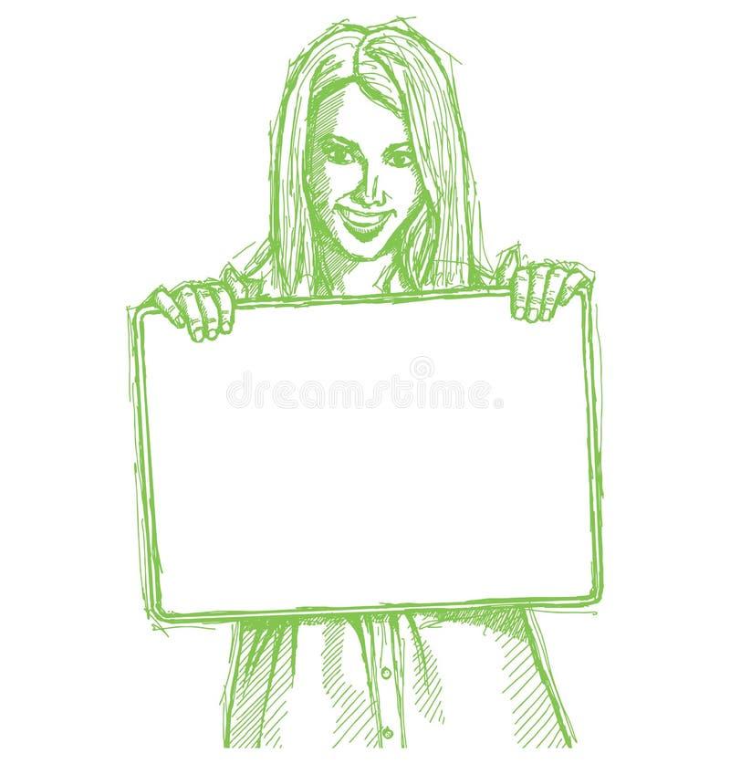 Mujer de negocios feliz del bosquejo que sostiene la tarjeta en blanco ilustración del vector