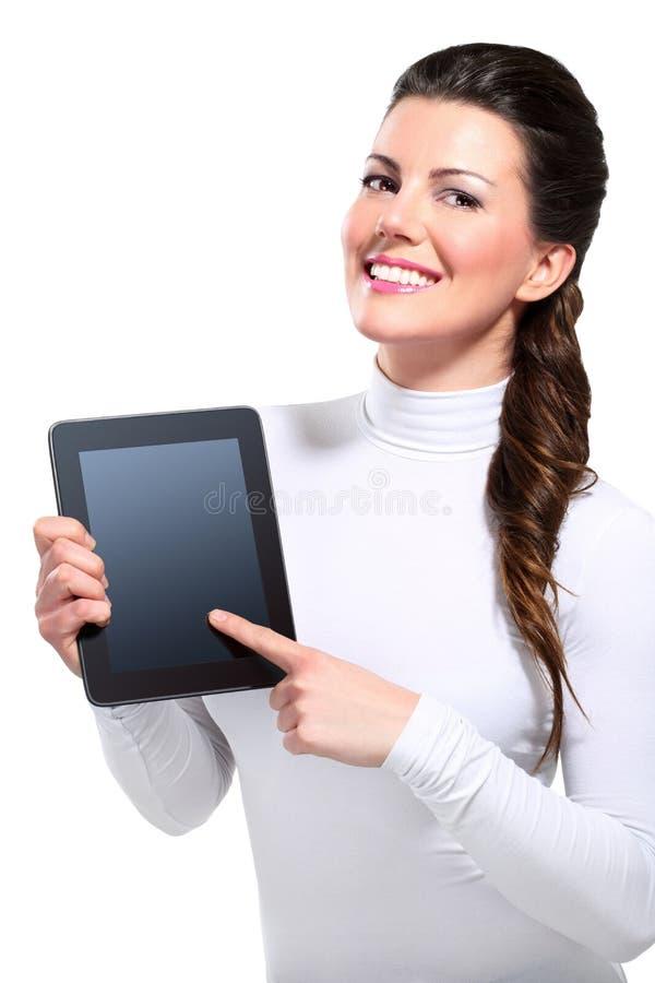 Mujer de negocios feliz hermosa joven con la tablilla imagen de archivo