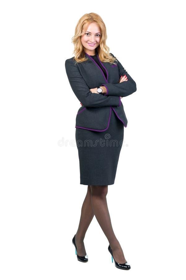 Mujer de negocios feliz joven, aislada en blanco imágenes de archivo libres de regalías