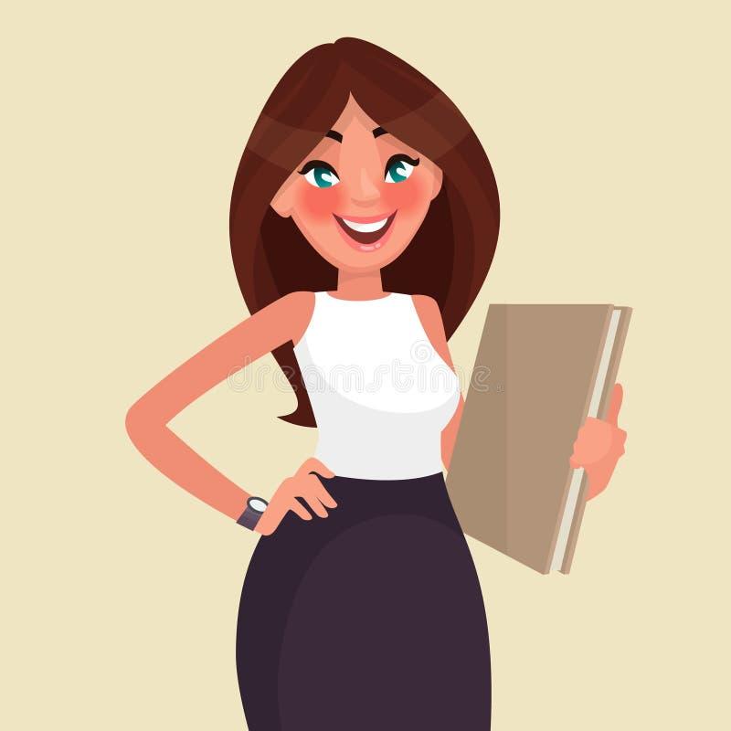 Mujer de negocios hermosa con una carpeta en sus manos Illu del vector libre illustration