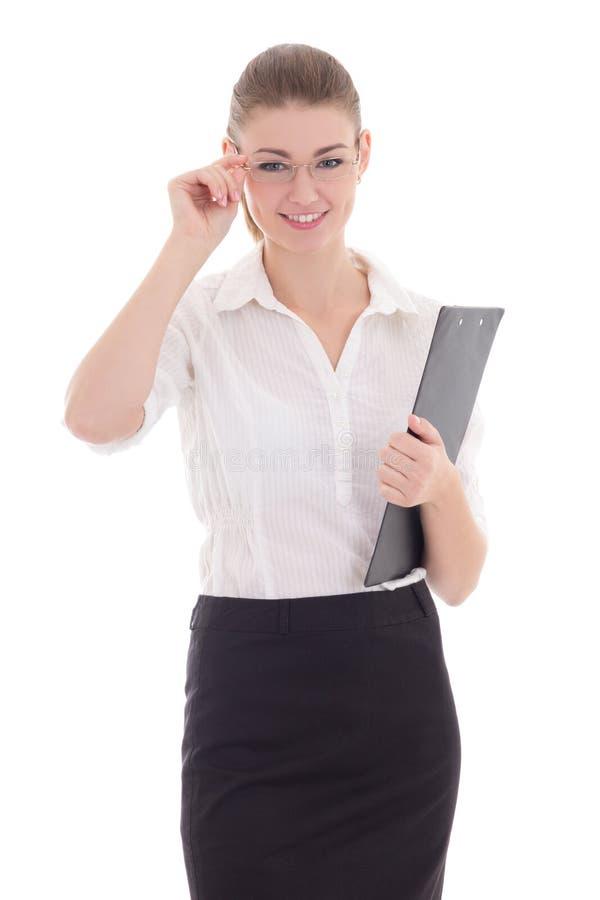 Mujer de negocios hermosa joven feliz con el tablero aislado encendido imagenes de archivo