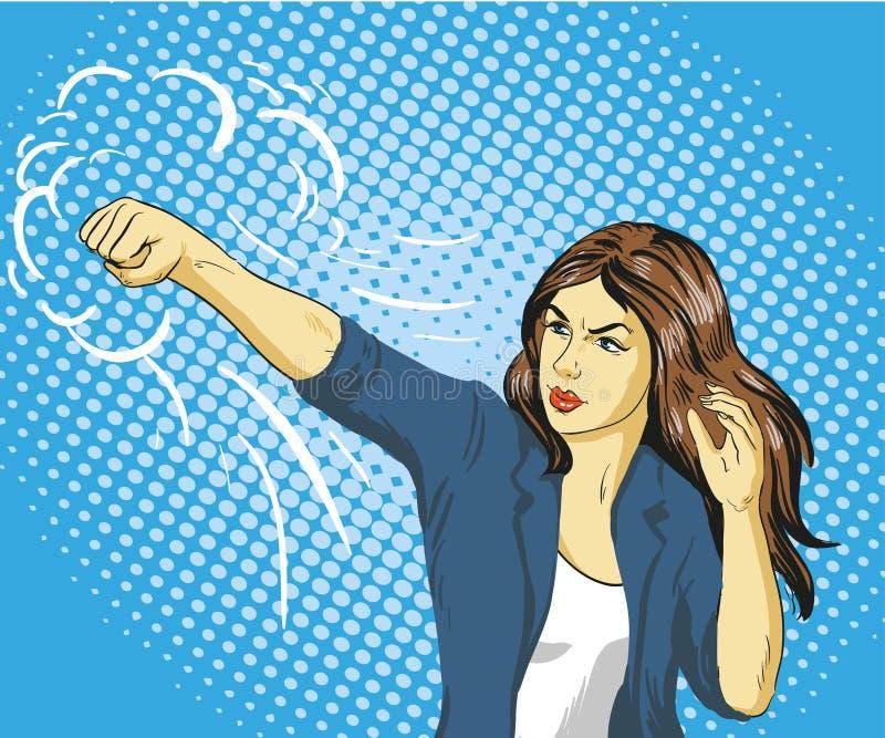 Mujer de negocios hermosa joven que perfora y que encajona Cartel del vector del concepto en estilo cómico retro del arte pop ilustración del vector