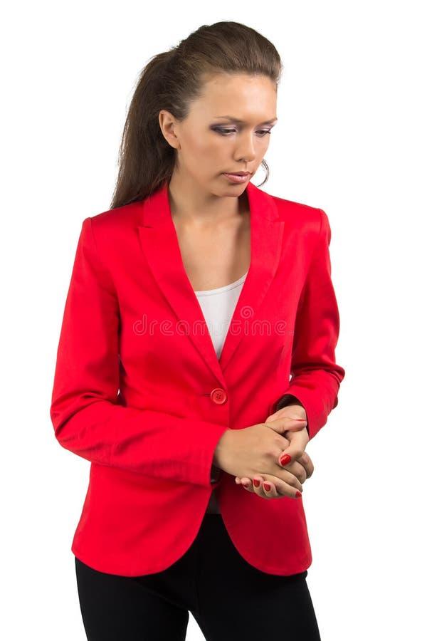 Mujer de negocios infeliz que mira abajo imágenes de archivo libres de regalías