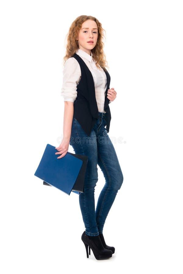 Mujer de negocios joven acertada del retrato fotos de archivo