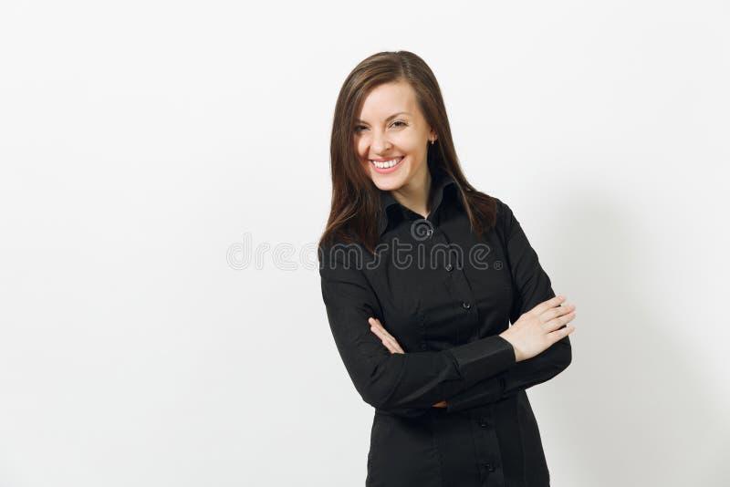 Mujer de negocios joven caucásica hermosa del marrón-pelo aislada en el fondo blanco Encargado o trabajador Copie el anuncio del  foto de archivo