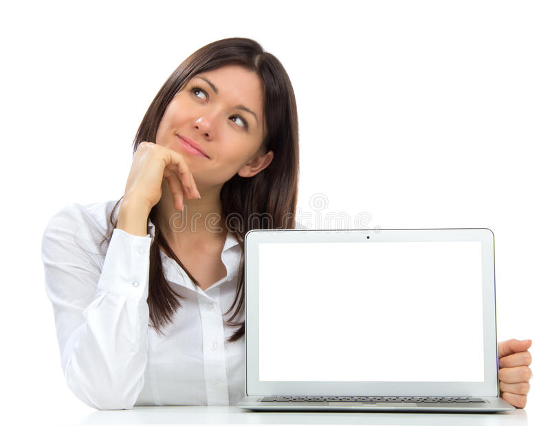 Mujer de negocios joven con el nuevo teclado popular moderno del ordenador portátil imagen de archivo