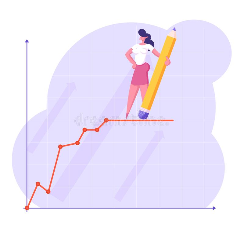 Mujer de negocios joven con el soporte disponible del lápiz enorme encima de la línea de carta financiera de crecimiento Presenta stock de ilustración