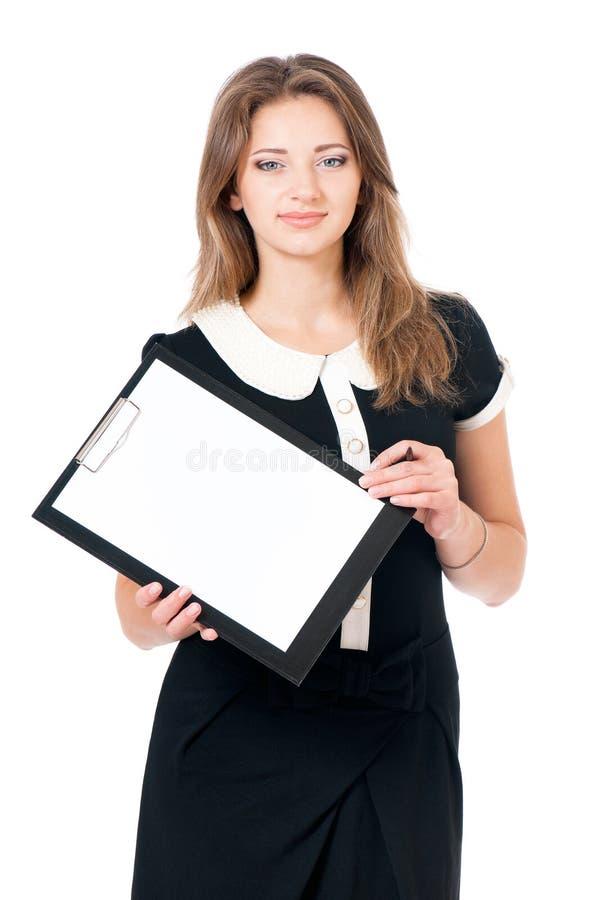 Mujer de negocios joven en blanco fotografía de archivo