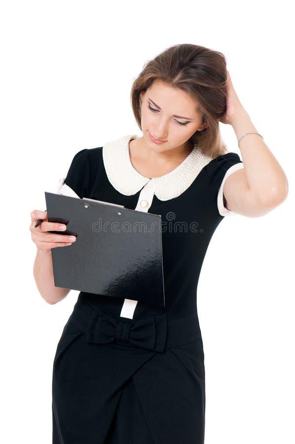 Mujer de negocios joven en blanco foto de archivo libre de regalías