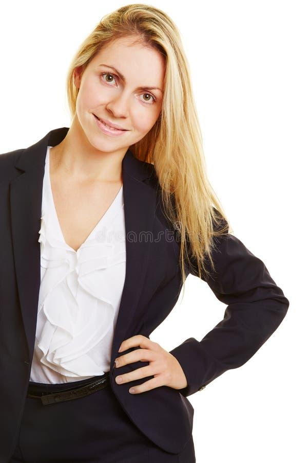 Mujer de negocios joven en el entrenamiento imágenes de archivo libres de regalías