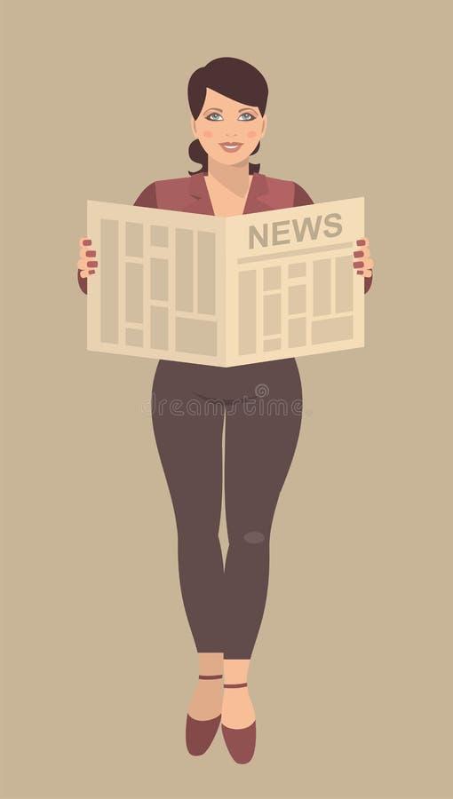 Mujer de negocios joven que lee un periódico en sus manos reveladas stock de ilustración