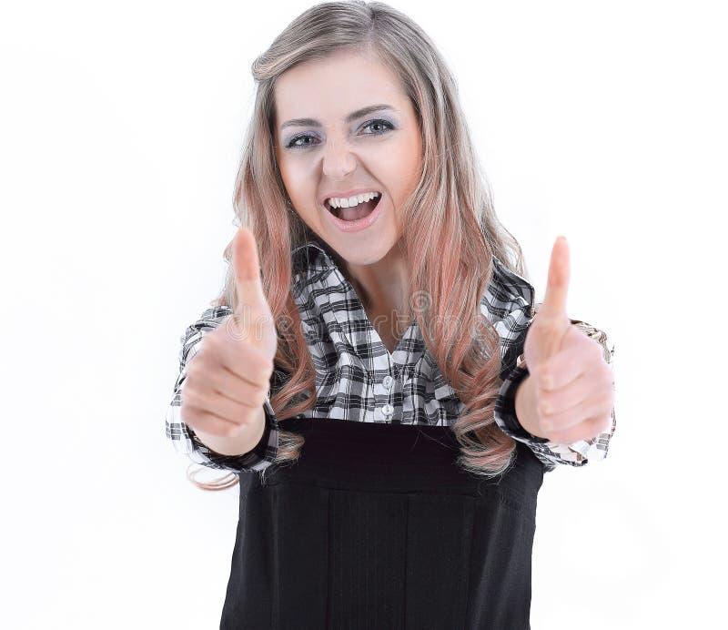 Mujer de negocios joven que muestra el pulgar para arriba Aislado en blanco fotos de archivo