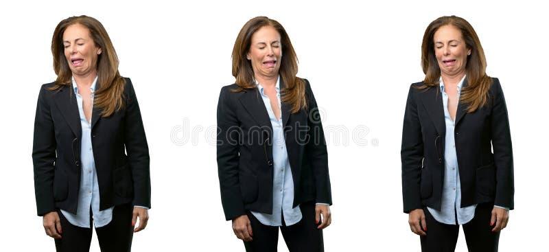 Mujer de negocios de la Edad Media con el pelo largo fotografía de archivo