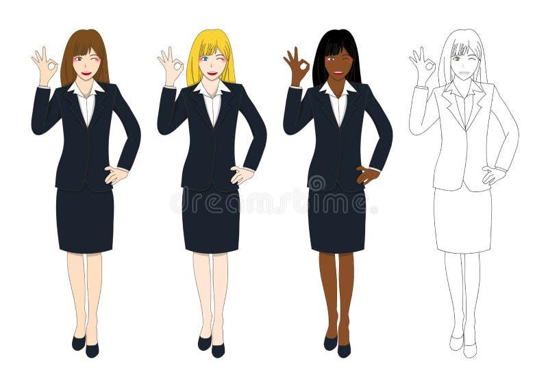 Mujer de negocios linda determinada que muestra la muestra ACEPTABLE de la mano Carrocería completa stock de ilustración