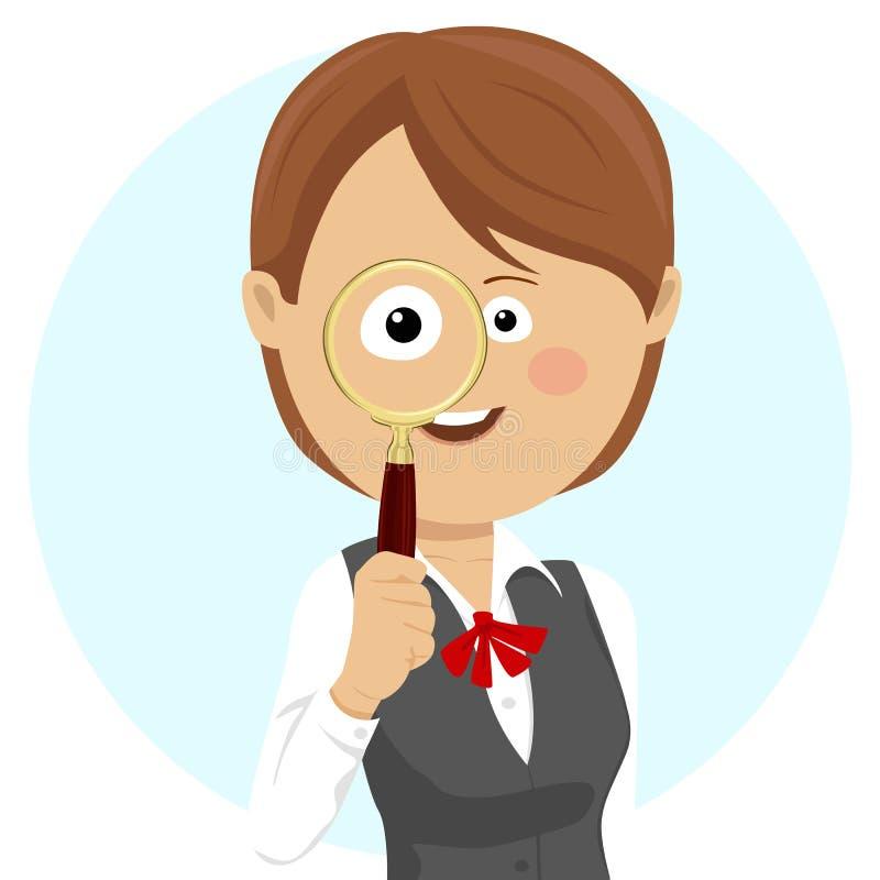 Mujer de negocios linda joven en traje con la lupa libre illustration