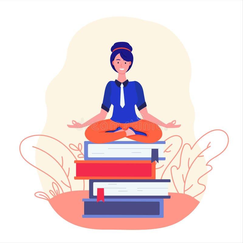 Mujer de negocios meditating Mujer en actitud de la yoga libre illustration