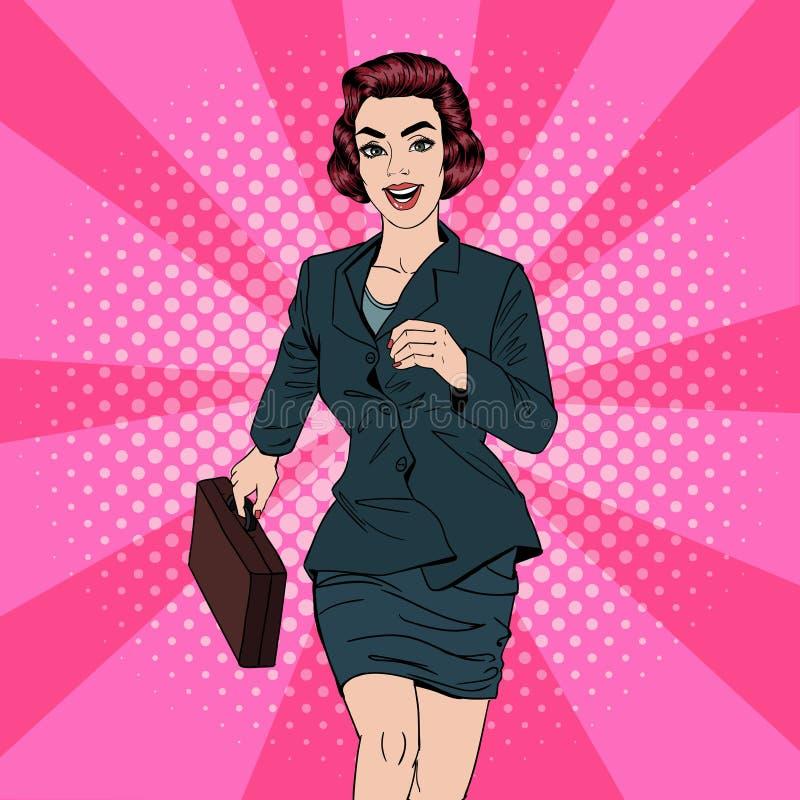 Mujer de negocios - 2 Mujer feliz Mujer con la maleta Estallido Art Banner ilustración del vector
