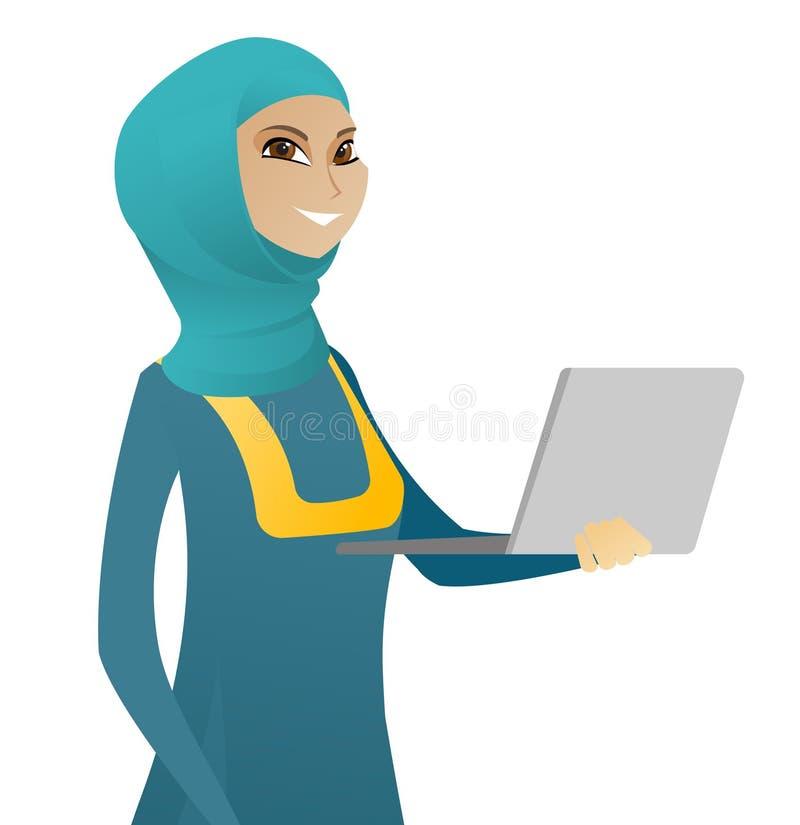 Mujer de negocios musulmán joven que usa un ordenador portátil libre illustration