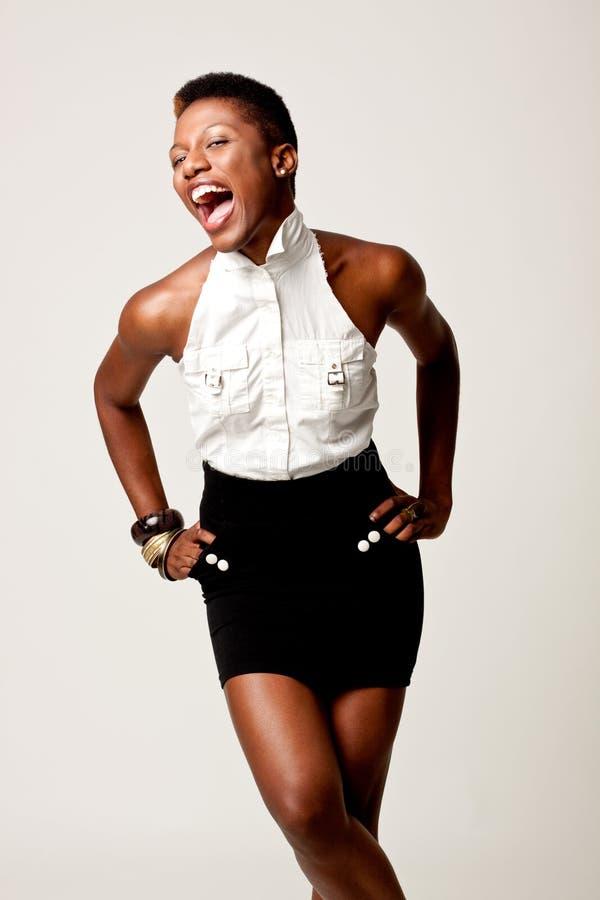 Mujer de negocios negra de Flirty foto de archivo