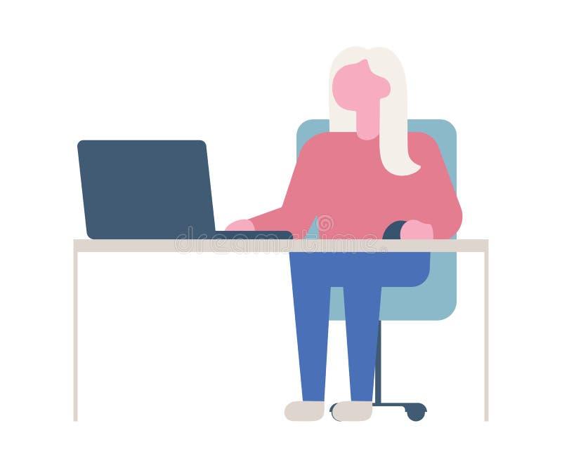 Mujer de negocios o un vendedor que trabaja en su escritorio de oficina ejemplo moderno del vector del estilo plano ilustración del vector