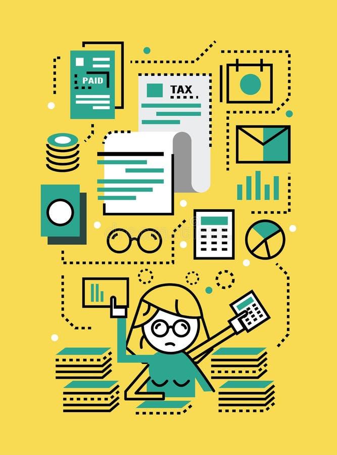 Mujer de negocios ocupada con los documentos del impuesto libre illustration