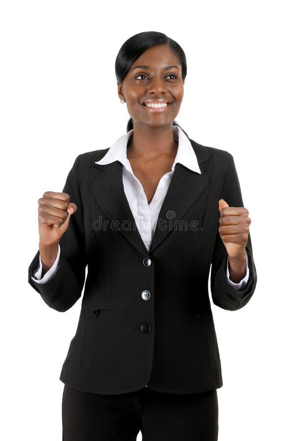 Mujer de negocios que celebra éxito imágenes de archivo libres de regalías